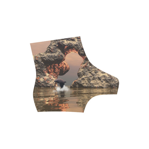 Dolphin in the sunset High Grade PU Leather Martin Boots For Men Model 402H