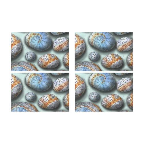 beautiful floral painted blue rocks stones pattern art by agnes laczo Placemat 12'' x 18'' (Four Pieces)