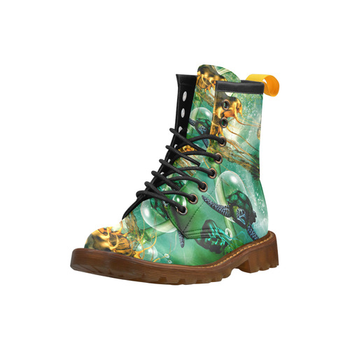 Turtle with jelly fsih High Grade PU Leather Martin Boots For Men Model 402H