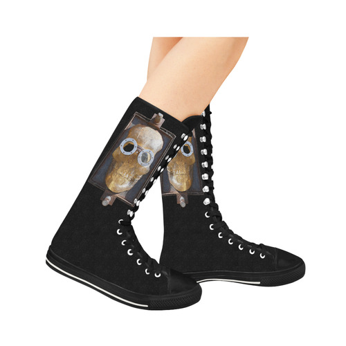 Steampunk Skull Photo Canvas Long Boots For Women Model 7013H