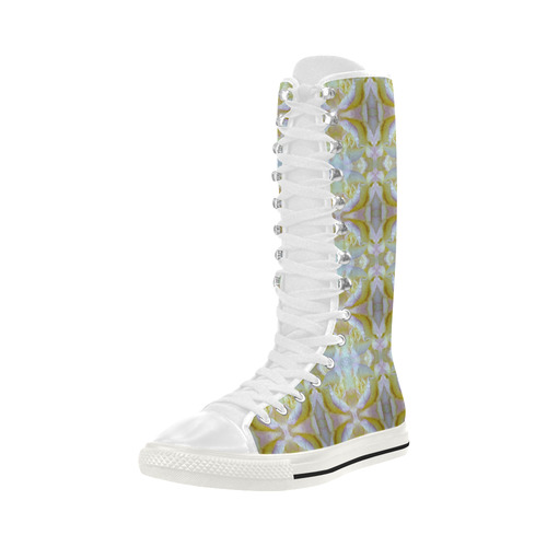 White Yellow  Pattern Canvas Long Boots For Women Model 7013H