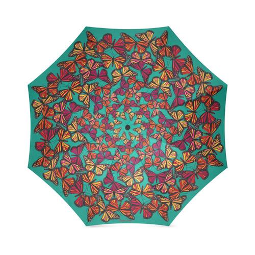 Hot Monarchs on Aqua Foldable Umbrella (Model U01)