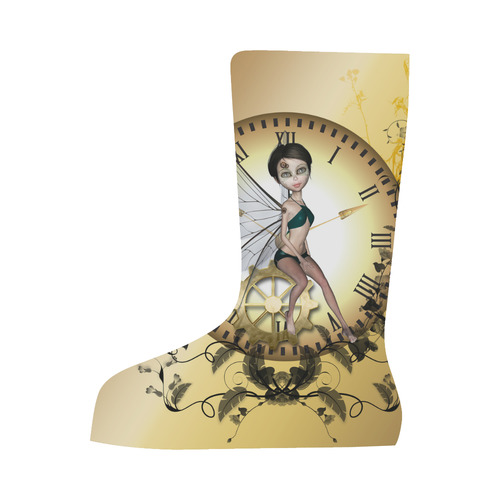 Steampunk, wonderful fairy, clocks and gears Canvas Long Boots For Women Model 7013H