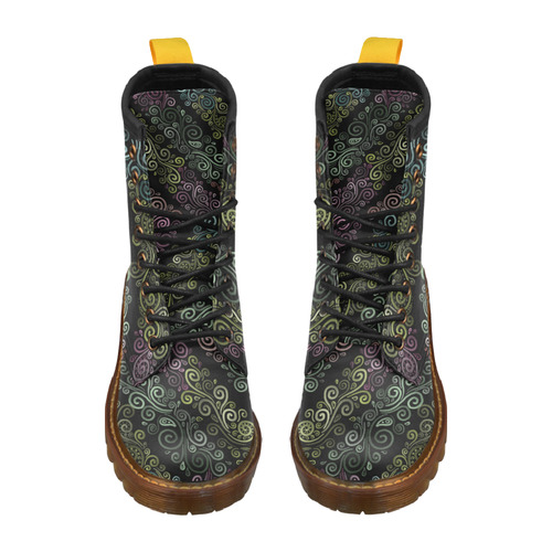 3D Psychedelic pastel High Grade PU Leather Martin Boots For Women Model 402H