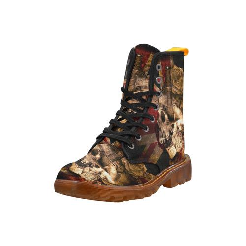 Grunge Skull and British Flag Martin Boots For Men Model 1203H