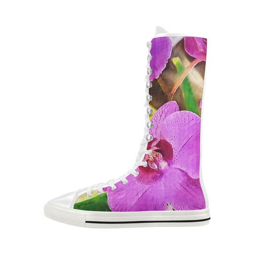 Purple Flowers Canvas Long Boots For Women Model 7013H