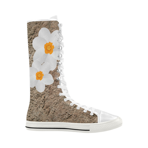 White FLowers and Dirt Photo Texture Canvas Long Boots For Women Model 7013H