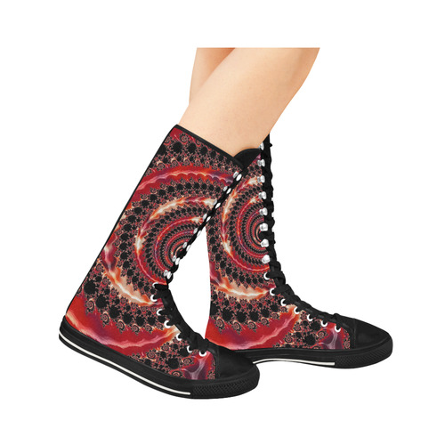 Fractal20160812a Canvas Long Boots For Women Model 7013H