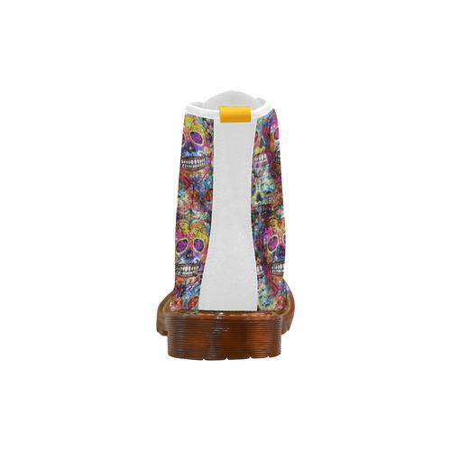 Colorfully Flower Power Skull Grunge Pattern Martin Boots For Women Model 1203H