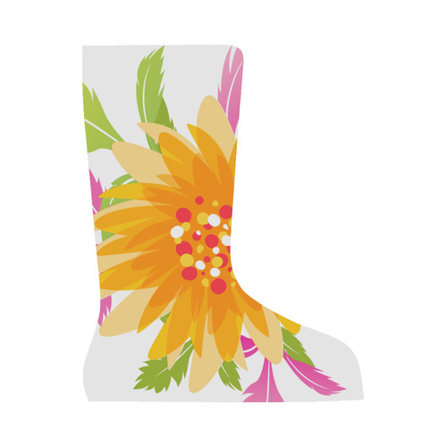 Tropical Floral Pink Green Yellow Orange Canvas Long Boots For Women Model 7013H