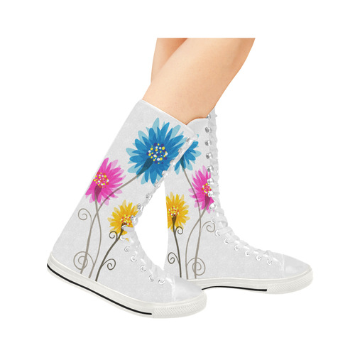 Flowers Blue Pink Yellow Canvas Long Boots For Women Model 7013H