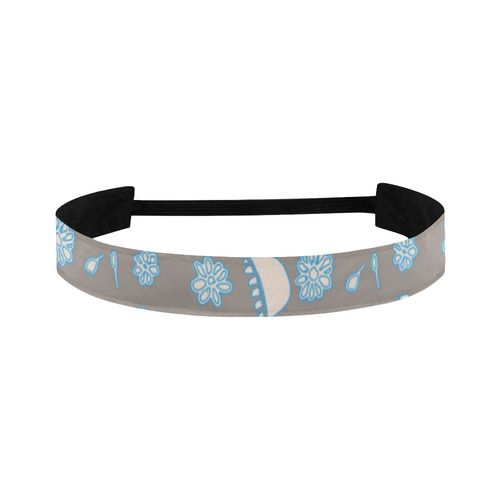 floral gray and blue Sports Headband
