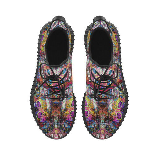 Colorfully Flower Power Skull Grunge Pattern Grus Women's Breathable Woven Running Shoes (Model 022)