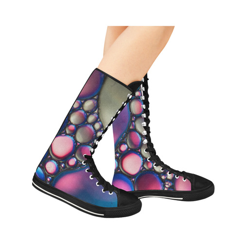 Oil Water Droplets Blue Purple Pink Canvas Long Boots For Women Model 7013H