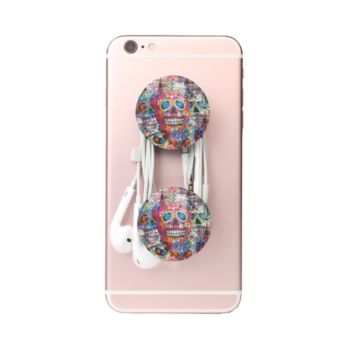 Colorfully Flower Power Skull Grunge Pattern Air Smart Phone Holder