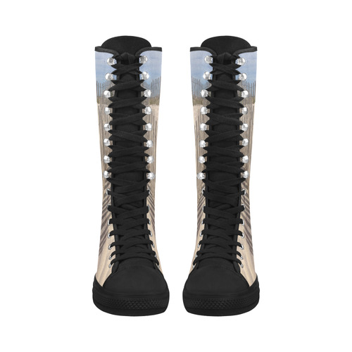 Beach Dunes Sand Fencing Canvas Long Boots For Women Model 7013H