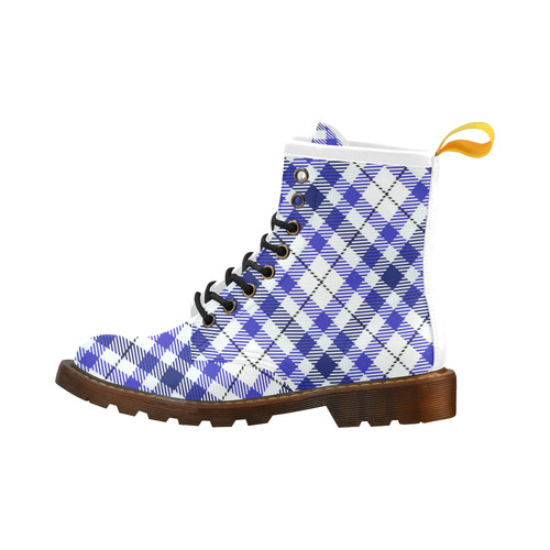 cozy and pleasant Plaid 1E High Grade PU Leather Martin Boots For Men Model 402H