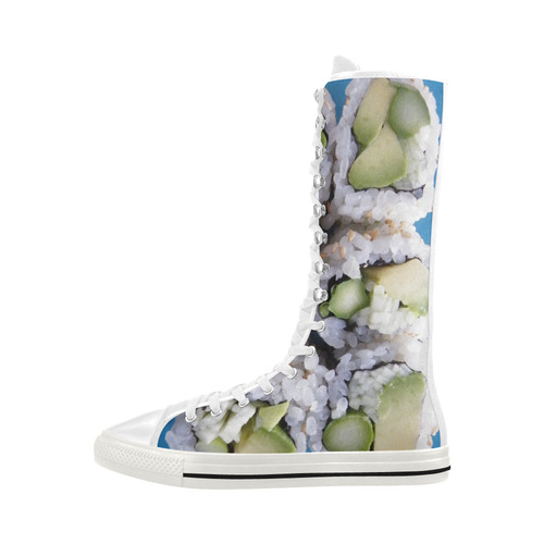 Avocado Sushi Rolls Canvas Long Boots For Women Model 7013H