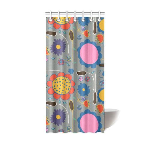 Spring Flower Gray Shower Curtain 36x72
