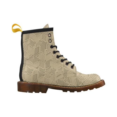 Geometric Abstract - Tan, Khaki High Grade PU Leather Martin Boots For Women Model 402H