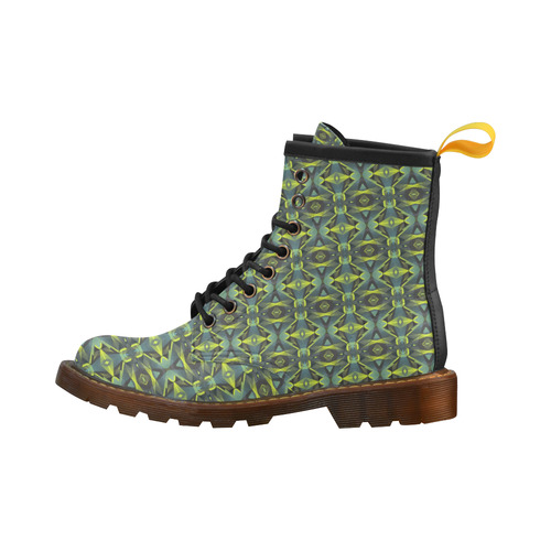 Geometric Abstract - Greens High Grade PU Leather Martin Boots For Women Model 402H