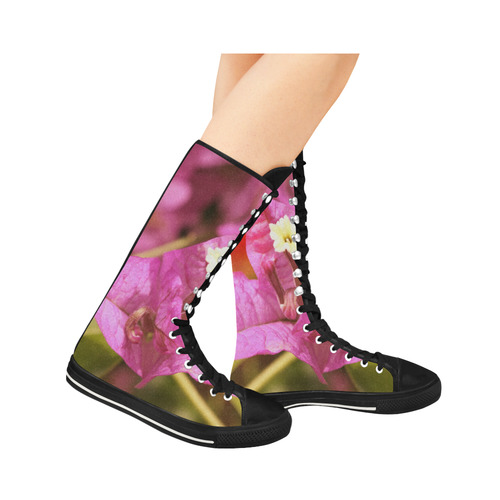 Pink Bougainvillea Canvas Long Boots For Women Model 7013H
