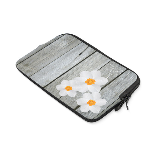 White Flowers on Grey Wood Boards iPad mini