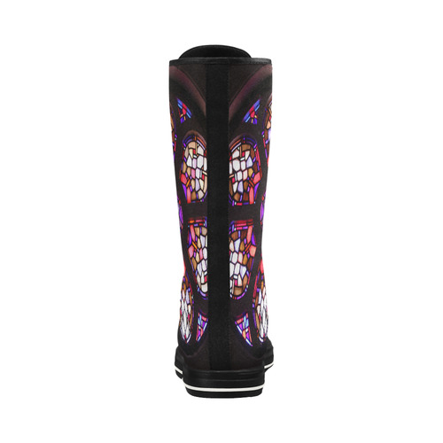 Purple Rosary Window Mandala Canvas Long Boots For Women Model 7013H
