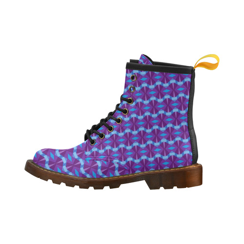 Geometric Abstract Purple and Blue High Grade PU Leather Martin Boots For Women Model 402H
