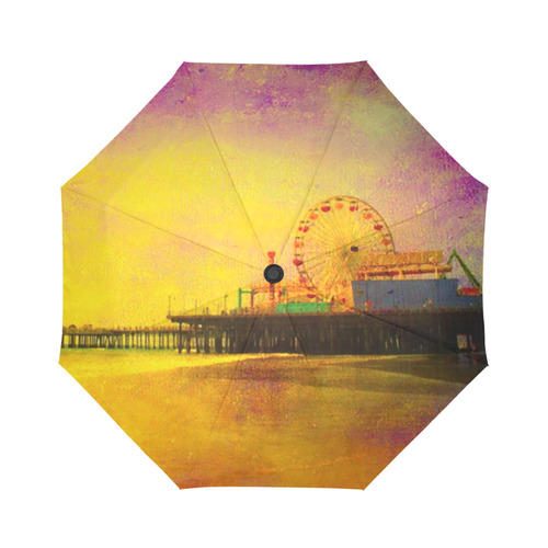 Yellow Purple Santa Monica Pier Auto-Foldable Umbrella