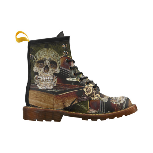 Funny Skull and Book Leather Martin Boots For Women Model 402H
