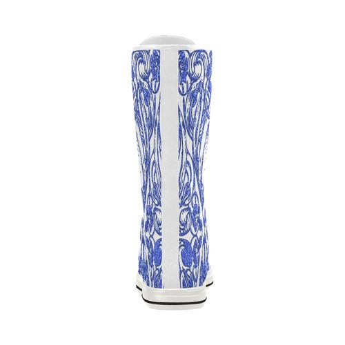 Lace Blue Canvas Long Boots For Women Model 7013H