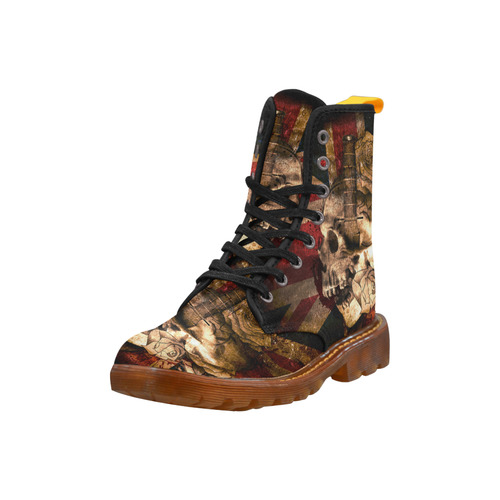 Grunge Skull and British Flag Martin Boots For Women Model 1203H