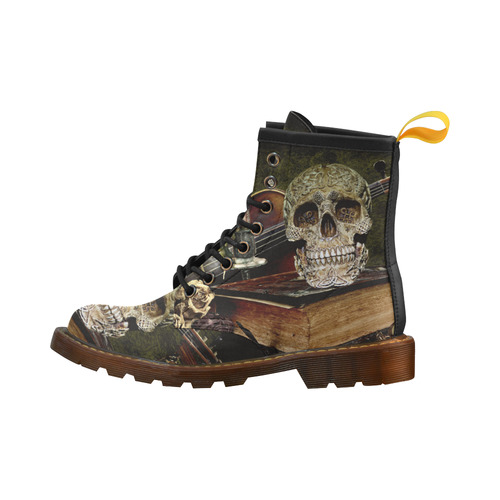 Funny Skull and Book High Grade PU Leather Martin Boots For Women Model 402H