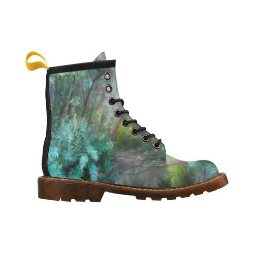 Bush, original watercolor painting, , landscape High Grade PU Leather Martin Boots For Men Model 402H
