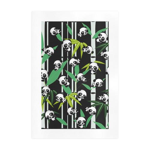 Satisfied and Happy Panda Babies on Bamboo Art Print 19''x28''