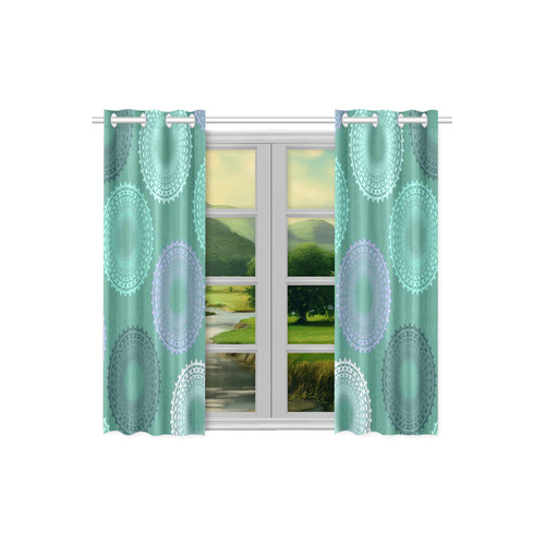 "Teal Sea Foam Lace Doily Kitchen Curtain 26"" X 39"" (Two Piece)"