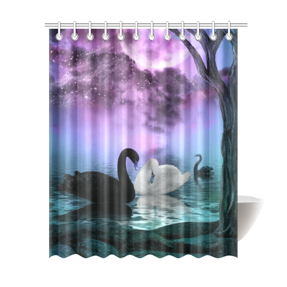 Wonderful Black And White Swan Shower Curtain 69x84