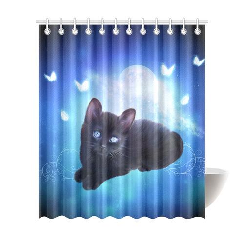 Cute Little Back Kitten Shower Curtain 72x84