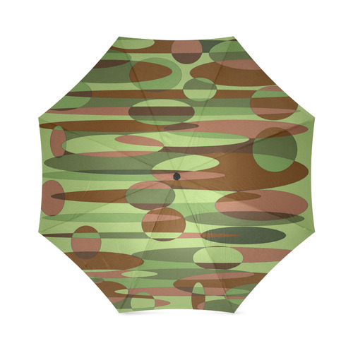 Green and Brown Camouflage Spheres Foldable Umbrella