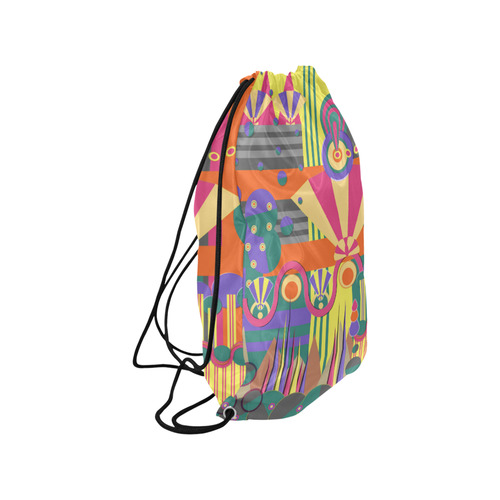 """Art Deco Shapes and Colours Small Drawstring Bag Model 1604 (Twin Sides) 11""""(W) * 17.7""""(H)"""
