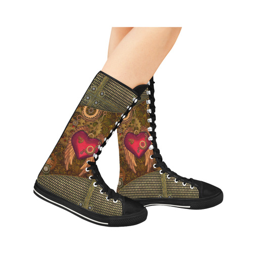Steampunk, heart with wings Canvas Long Boots For Women Model 7013H