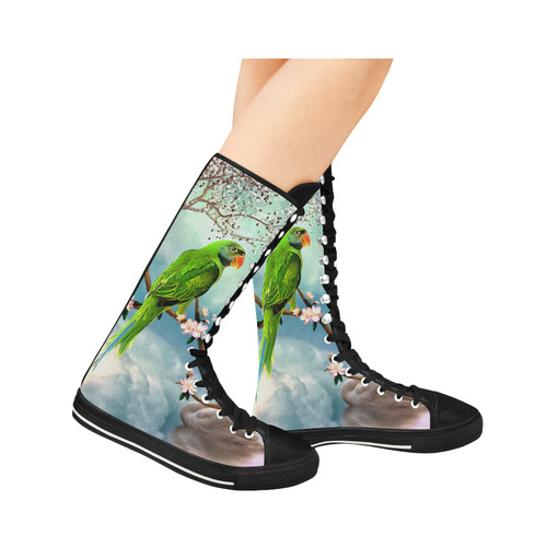 Funny cute parrots Canvas Long Boots For Women Model 7013H