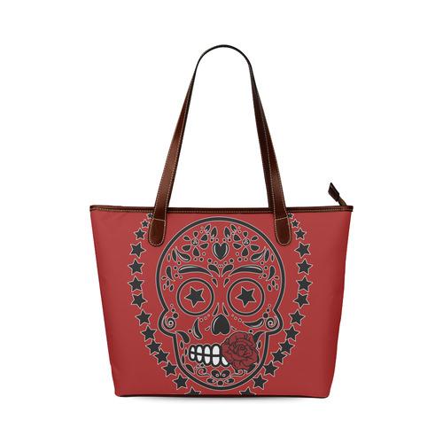 Sugar Skull Red Rose Black Shoulder Tote Bag (Model 1646)  4c6a932863a9d