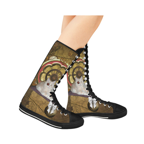 Steampunk, awseome cat clacks and gears Canvas Long Boots For Women Model 7013H