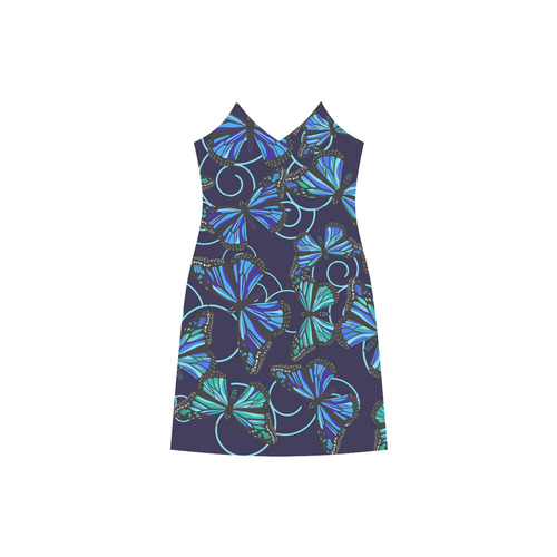 Butterfly Blues on Navy V-Neck Open Fork Long Dress(Model D18)