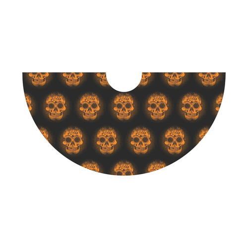 Sugarskull Pattern, orange by JamColors Tethys Half-Sleeve Skater Dress(Model D20)