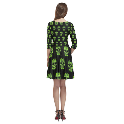 new skull allover pattern  04E by JamColors Tethys Half-Sleeve Skater Dress(Model D20)