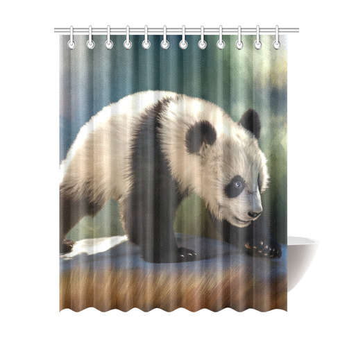 A Cute Painted Panda Bear Baby Shower Curtain 69x84