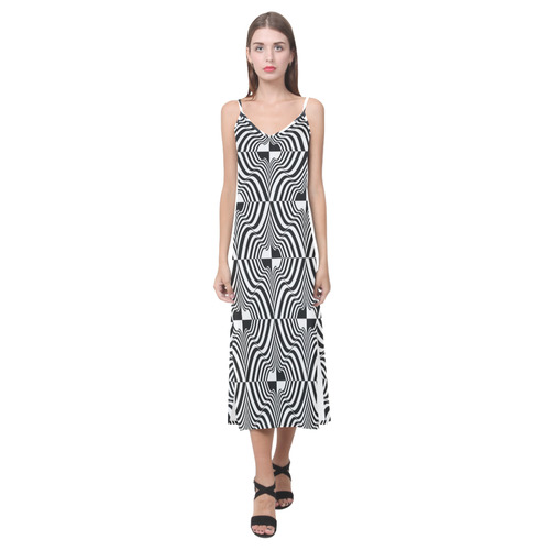 Ruffles and Ridges V-Neck Open Fork Long Dress(Model D18)